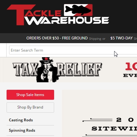 Tackle Warehouse Promo Codes. Tackle Warehouse shops fishing tackle, bass, striper, salmon, trout, kokanee, rods, reels, lures, tackle boxes, and much more. Over the course of the last five years, Tackle Warehouse has grown to become one of the most respected tackle e-tailers on the internet.